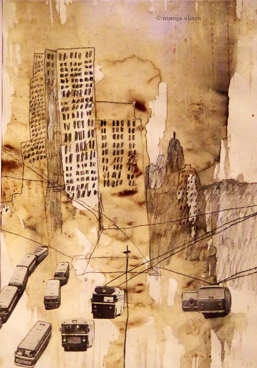 coffee ink drawing illustration collage